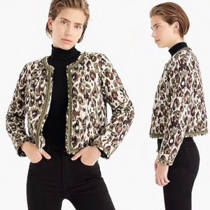 J. Crew Lady Jacket Quilted Camo Leopard
